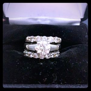 Martin flyer engagement ring with bands